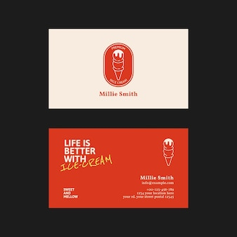 Plantilla de tarjeta de visita de helado psd en rojo y blanco