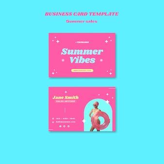 Plantilla de tarjeta de visita horizontal para venta de verano