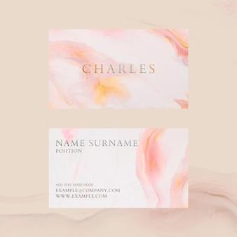 Plantilla de tarjeta de visita de mármol psd en estilo femenino colorido