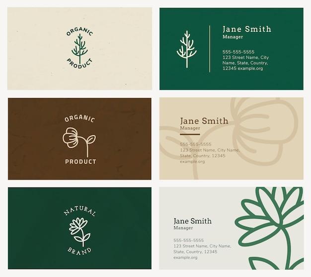 Plantilla de tarjeta de visita orgánica psd con conjunto de logotipos de arte lineal