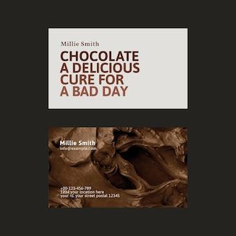 Plantilla de tarjeta de visita de panadería psd en marrón y blanco con textura de glaseado