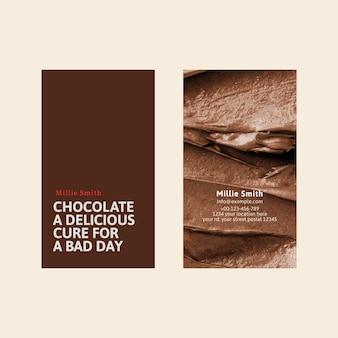 Plantilla de tarjeta de visita de panadería psd en marrón con textura de glaseado
