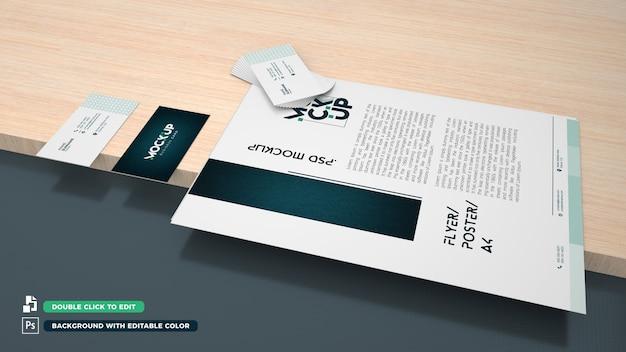 Plantilla de tarjeta de visita y papel a4 3d