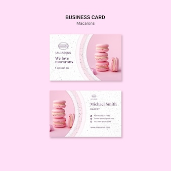 Plantilla de tarjeta de visita - pila de macarons