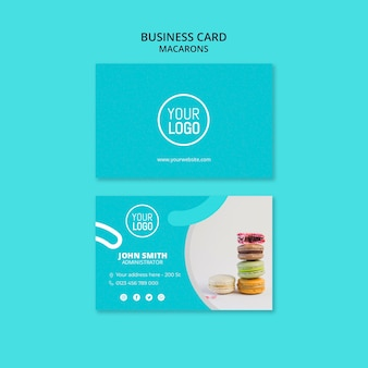 Plantilla de tarjeta de visita premium macarons