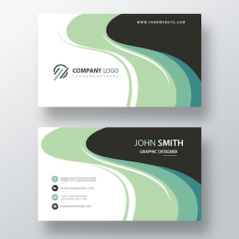 Plantilla de tarjeta de visita psd verde