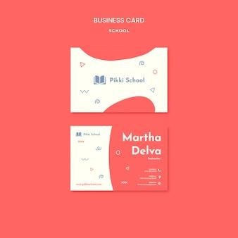 Plantilla de tarjeta de visita de regreso a la escuela