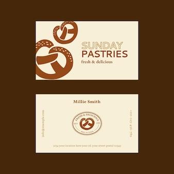 Plantilla de tarjeta de visita de repostería psd en beige y marrón