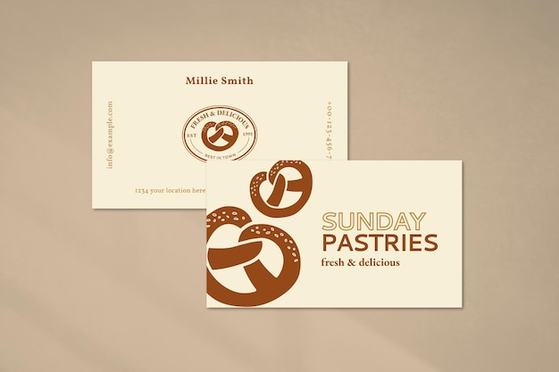 Plantilla de tarjeta de visita de repostería psd en color crema con textura de glaseado