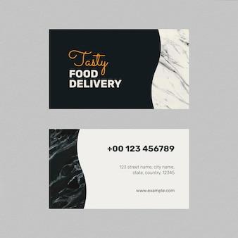 Plantilla de tarjeta de visita de restaurante psd en vista frontal y trasera