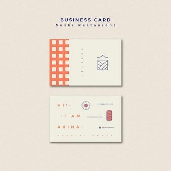 Plantilla de tarjeta de visita de restaurante de sushi