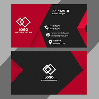 Plantilla de tarjeta de visita roja y negra