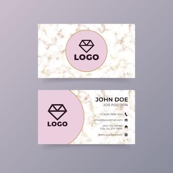 Plantilla de tarjeta de visita rosa de lujo con textura de mármol