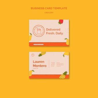 Plantilla de tarjeta de visita de servicio de entrega de comestibles