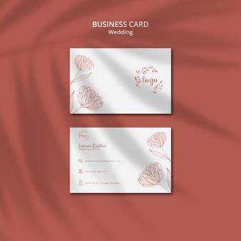Plantilla de tarjeta de visita simple y elegante para bodas
