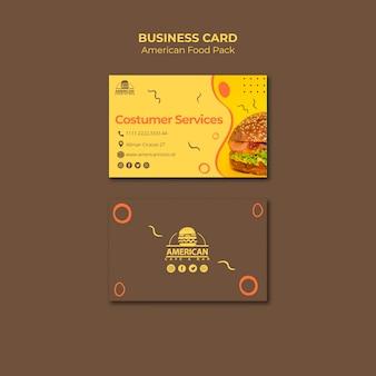 Plantilla de tarjeta de visita con tema de comida americana
