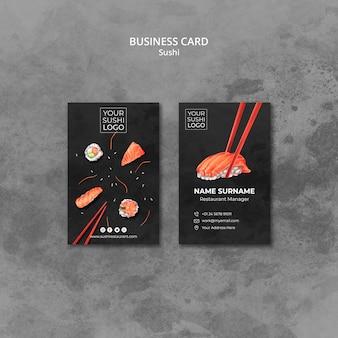 Plantilla de tarjeta de visita con tema de día de sushi
