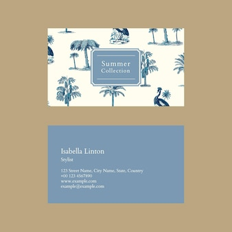 Plantilla de tarjeta de visita de verano psd con fondo tropical