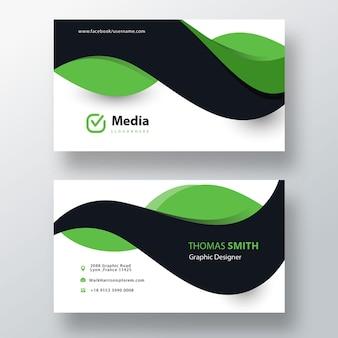 Plantilla de tarjeta de visita verde y negra