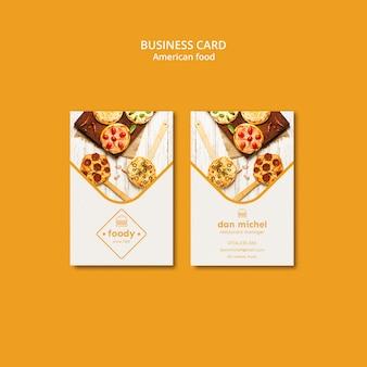 Plantilla de tarjeta de visita vertical de comida americana