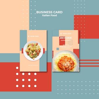Plantilla de tarjeta de visita vertical de comida italiana