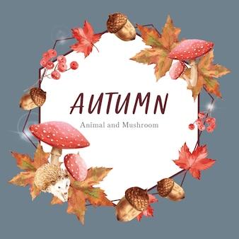 Plantilla temática de otoño con marco de borde.