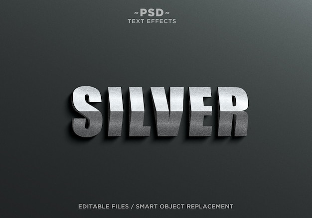 Plantilla de texto de efectos de plata de triángulo 3d