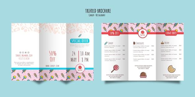 Plantilla de tienda de dulces para folleto