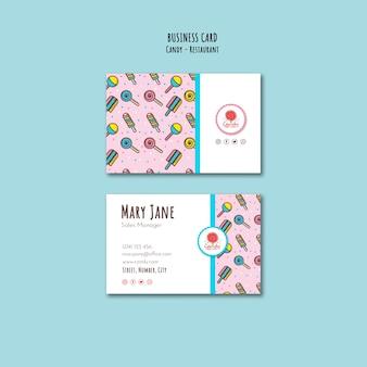 Plantilla de tienda de dulces para tarjetas de visita