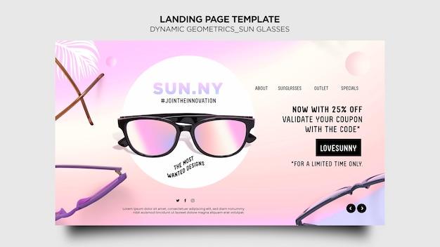 Plantilla de tienda de gafas de sol de página de destino