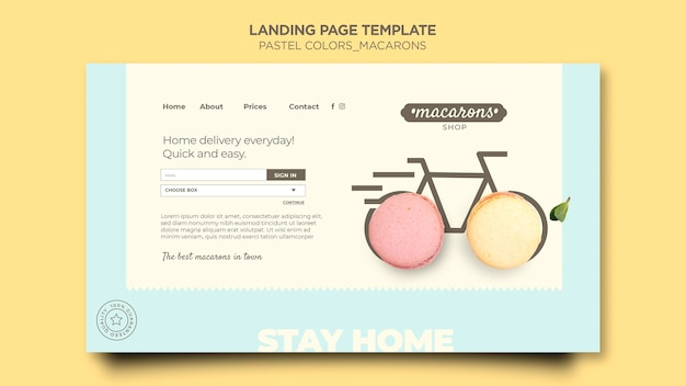Plantilla de tienda de macarons de página de destino