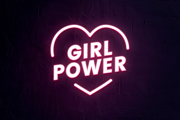 Plantilla de tipografía de girl power psd en estilo neón con forma de corazón