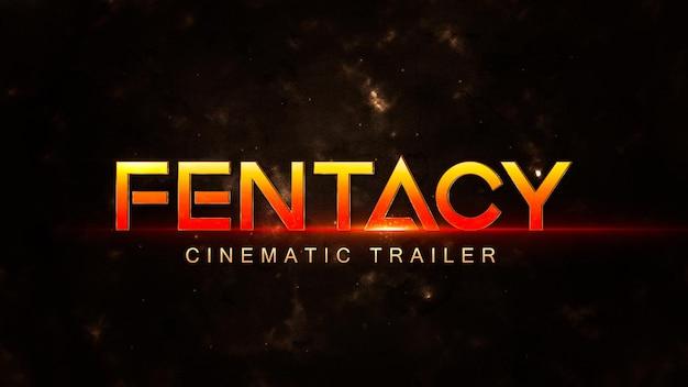 Plantilla de título cinematográfico con efecto brillante sobre fondo oscuro