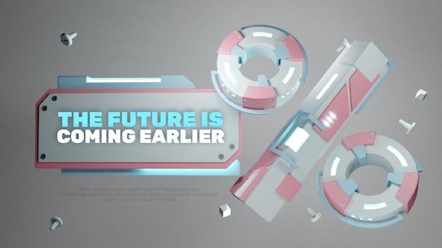 Plantilla de título de insignia de descuento tecnológico futurista realista 3d