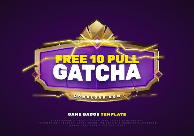 Plantilla de título de promoción de logotipo de juego púrpura dorado 3d