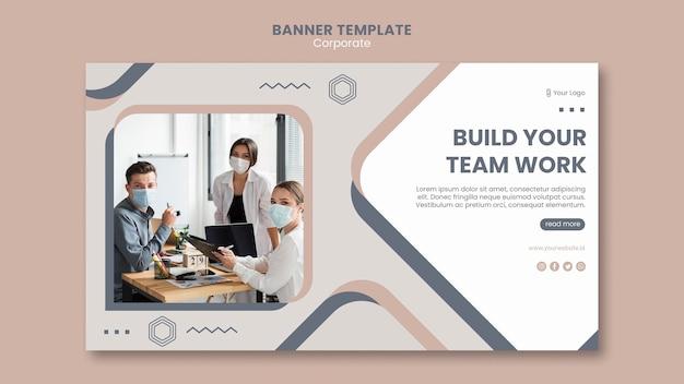 Plantilla de trabajo en equipo de banner