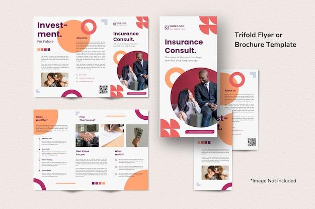 Plantilla tríptica del folleto de inversión de creative finance simple, limpio, abstracto, memphis