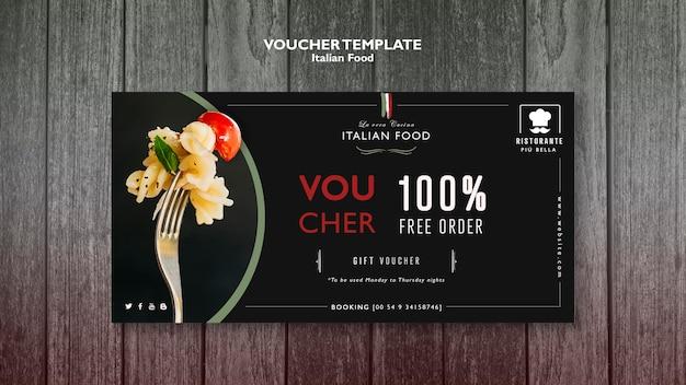 Plantilla de vales de comida italiana