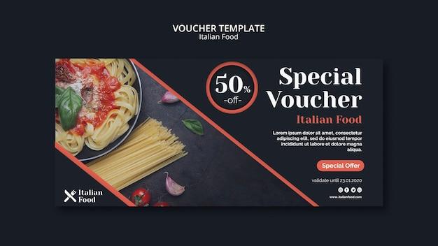 Plantilla de vales de concepto de comida italiana