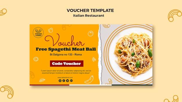 Plantilla de vales de restaurante italiano