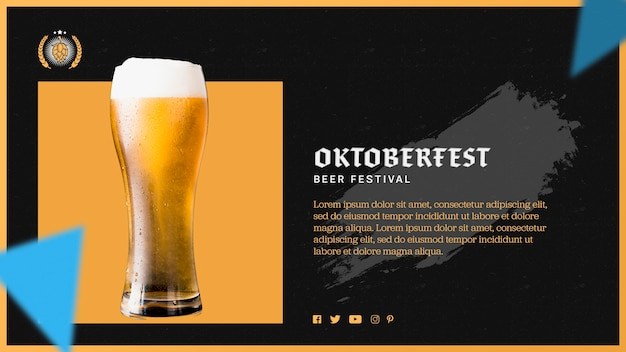 Plantilla de vaso de cerveza oktoberfest