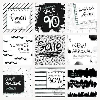 Plantilla de venta editable psd con conjunto de patrones de pincel de tinta