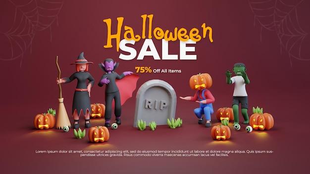 Plantilla de venta de halloween con carácter de render 3d