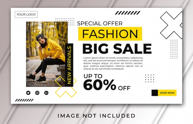 Plantilla de venta de moda de página de inicio de banner