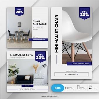 Plantilla de venta de muebles de instagram stories and feed post bundle