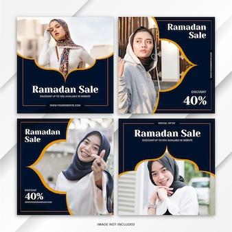 Plantilla de venta de ramadán del paquete de publicaciones de instagram