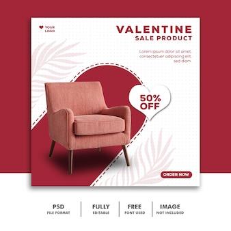Plantilla de venta de sofás instagram post valentine