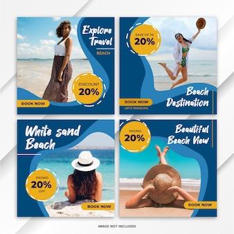 Plantilla de viaje de paquete de publicaciones de feed de instagram
