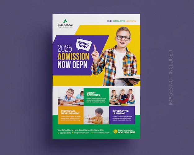 Plantilla de volante de admisión de educación escolar para niños