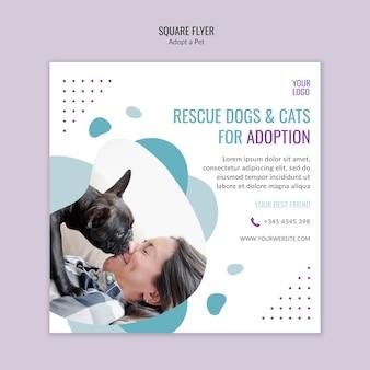Plantilla de volante con adopción de mascotas